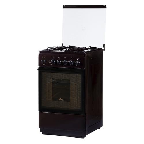 Газовая плита FLAMA FG 2424 B, газовая духовка, стеклянная крышка, коричневый