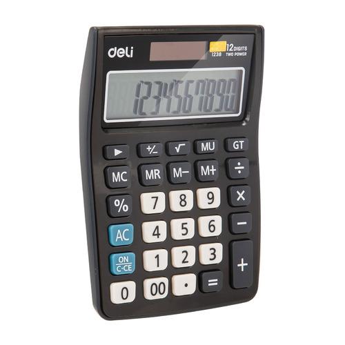 Калькулятор DELI E1238black, 12-разрядный, черный DELI