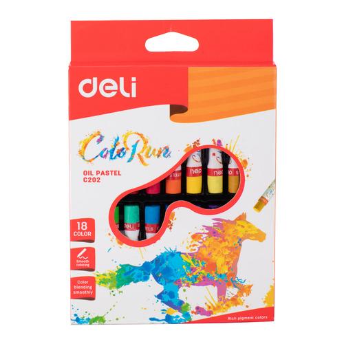 Упаковка пастели масляной DELI ColoRun EC20210, 18 цветов 24 шт./кор. упаковка мелков восковых deli colorun ec20820 ec20820 24 цвета 12 шт кор