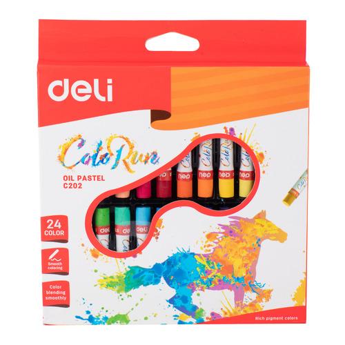 Упаковка пастели масляной DELI ColoRun EC20220, 24 цвета 18 шт./кор. упаковка мелков восковых deli colorun ec20820 ec20820 24 цвета 12 шт кор