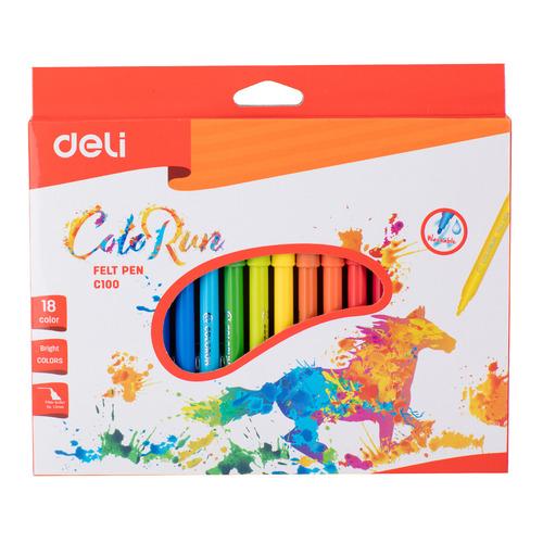 цены Фломастеры Deli EC10010 ColoRun Вентилируемый 18цв. коробка с европодвесом 24 шт./кор.