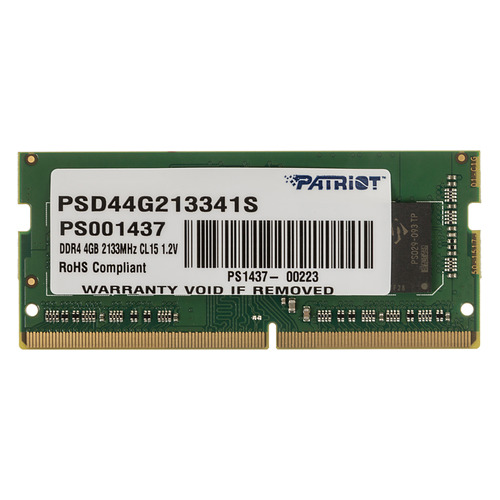 Модуль памяти PATRIOT PSD44G213341S DDR4 - 4Гб 2133, SO-DIMM, Ret PATRIOT