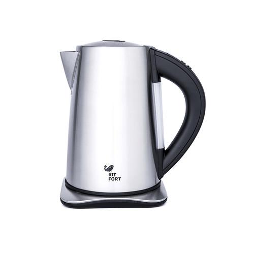 Чайник электрический KITFORT КТ-613, 2000Вт, серебристый и черный чайник электрический kitfort кт 609 серебристый черный