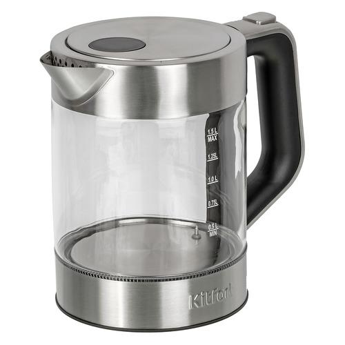 Фото - Чайник электрический KITFORT КТ-616, 2200Вт, серебристый и черный соковыжималка kitfort кт 1108 цитрусовая серебристый и черный