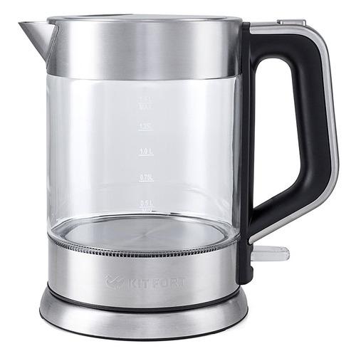 Чайник электрический KITFORT КТ-617, 2200Вт, серебристый и черный КТ-617 по цене 2 190