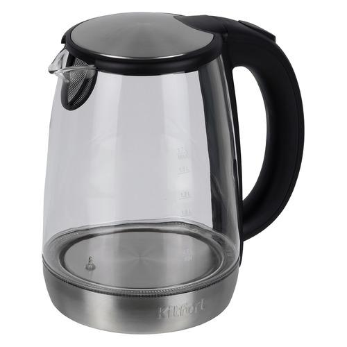 Чайник электрический KITFORT КТ-618, 2200Вт, серебристый и черный чайник электрический kitfort кт 609 серебристый черный