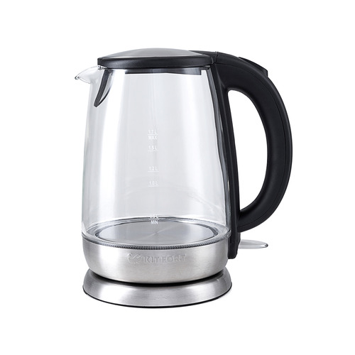 Фото - Чайник электрический KITFORT КТ-619, 2200Вт, серебристый и черный соковыжималка kitfort кт 1108 цитрусовая серебристый и черный