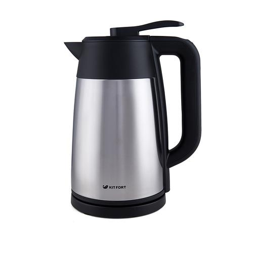Фото - Чайник электрический KITFORT КТ-620-2, 2200Вт, серебристый и черный соковыжималка kitfort кт 1108 цитрусовая серебристый и черный