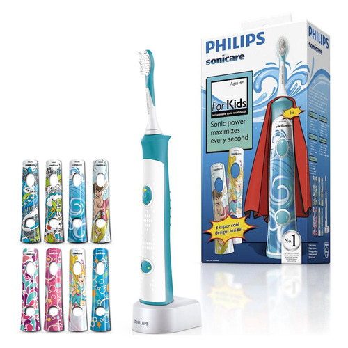 Электрическая зубная щетка PHILIPS Sonicare For Kids HX6311/07 белый new 4pcs hx6034 generic electric sonic replacement brush heads fits for philips sonicare toothbrush heads kids soft bristles
