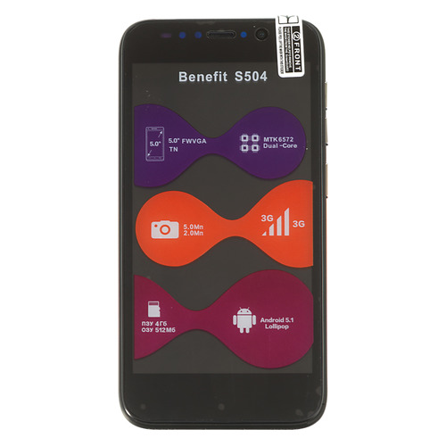 Смартфон ARK Benefit S504 черный смартфон ark benefit s504 черный моноблок 3g 2sim 5 480x854 and5 1 5mpix wifi bt gps