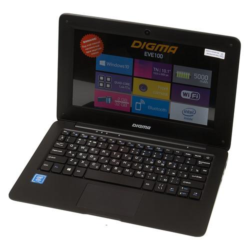 Ноутбук DIGMA EVE 100, 10.1, Intel Atom X5 Z8350 1.44ГГц, 2Гб, 32Гб SSD, Intel HD Graphics 400, Windows 10 Home, ET1015EW, черный цена