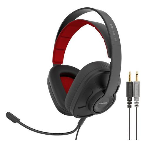 Гарнитура игровая KOSS GMR-540-ISO, для компьютера, мониторы, черный / красный [15119626] 15119626