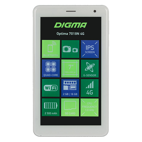 Планшет DIGMA Optima 7018N 4G, 2GB, 16GB, 3G, 4G, Android 7.0 белый [ts7179ml]