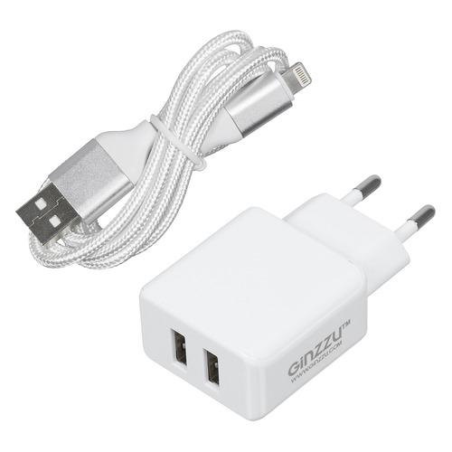 Фото - Сетевое зарядное устройство GINZZU GA-3313UW, 2xUSB, 8-pin Lightning (Apple), 3.1A, белый зарядное устройство ginzzu 2xusb 3 1a black кабель micro usb 1 0m ga 3312ub