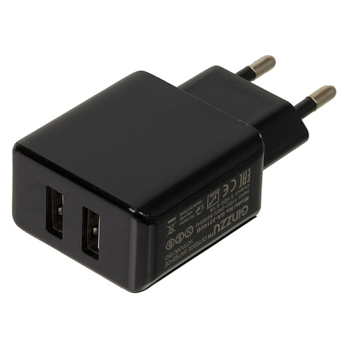 цена на Сетевое зарядное устройство GINZZU GA-3314UB, 2xUSB, USB type-C, 3.1A, черный