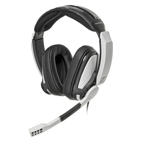 Гарнитура игровая SENNHEISER GSP 301, для компьютера и игровых консолей, накладные, черный / белый [507202] цена 2017