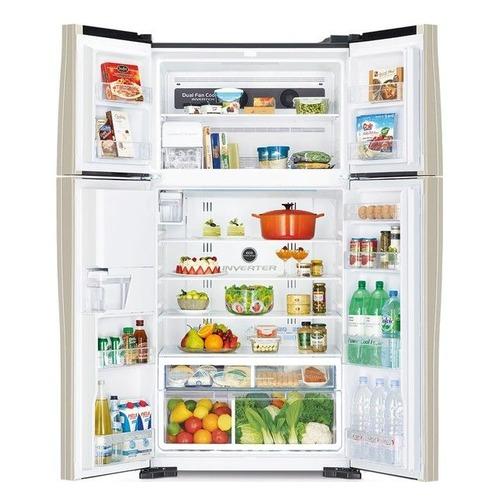 Холодильник HITACHI R-W 722 PU1 GBW, двухкамерный, коричневое стекло цена и фото