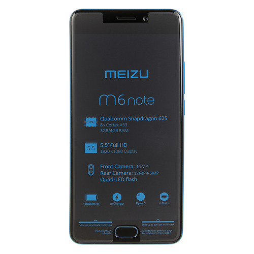 Смартфон MEIZU M6 Note 16Gb, M721H, синий смартфон meizu m6 note 64gb 4gb black m721h