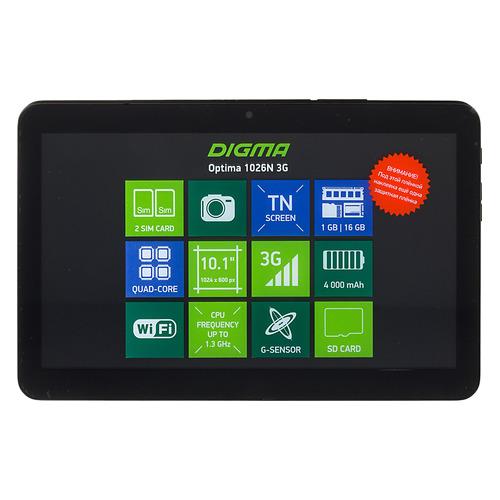 Планшет DIGMA Optima 1026N 3G, 1GB, 16GB, 3G, Android 7.0 черный [tt1192pg] цена