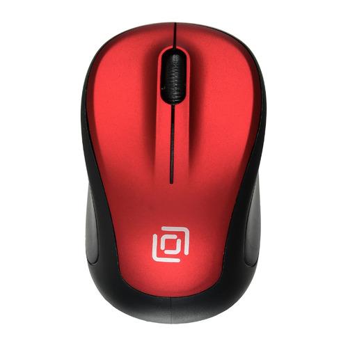 цена на Мышь OKLICK 665MW, оптическая, беспроводная, USB, черный и красный