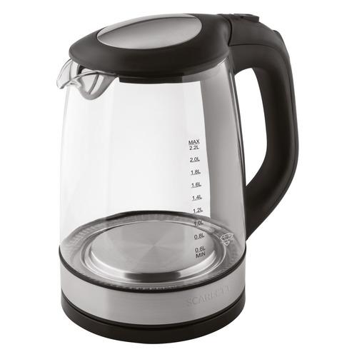 Чайник электрический SCARLETT SC-EK27G19, 2200Вт, черный чайник электрический scarlett sc ek27g19 2200 вт серебристый чёрный 2 2 л металл стекло