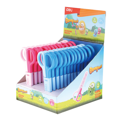 Фото - Упаковка ножниц DELI ED60200 Bumpees детские, 121мм, сталь, ассорти, дисплей картонный 24 шт./кор. упаковка ножниц maped 463010 детские 24 шт кор