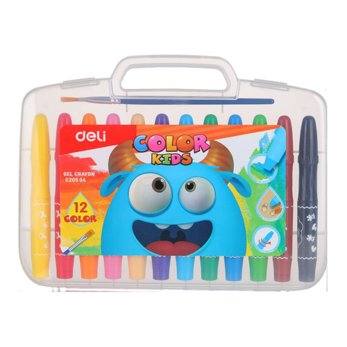 Гелевые мелки Deli EC20504 Color Kids 12цв. пласт.сум. 12 шт./кор. free shipping deli 0451 candy color stitching machine set mini stapler belt clip staples attached manual mini stapler