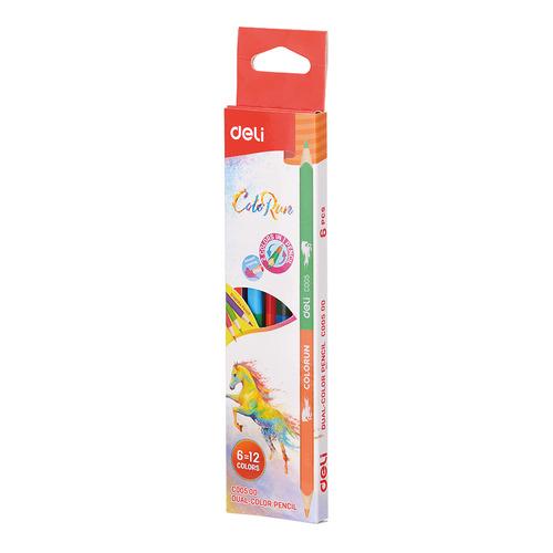 Фото - Упаковка карандашей цветных DELI EC00500 EC00500, липа, 12 цв., коробка европодвес, 6шт 24 шт./кор. упаковка карандашей цветных акварельных deli 6522 6522 липа 36 цв коробка металлическая