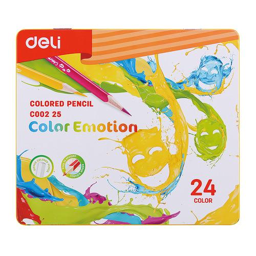 Фото - Упаковка карандашей цветных DELI EC00225 EC00225, липа, 24 цв., коробка металлическая, 24шт упаковка карандашей цветных акварельных deli 6522 6522 липа 36 цв коробка металлическая