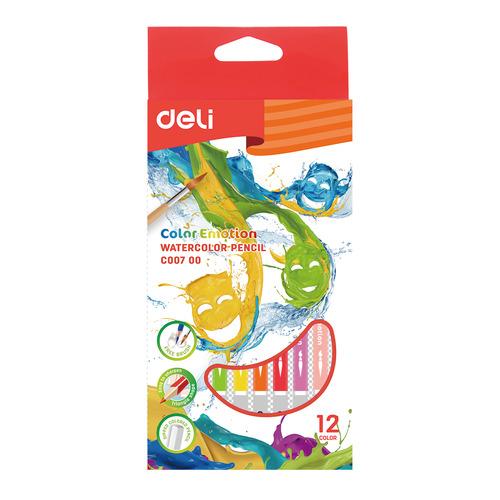 Фото - Упаковка карандашей цветных акварельных DELI EC00700 EC00700, липа, 12 цв., коробка европодвес упаковка карандашей цветных акварельных deli 6522 6522 липа 36 цв коробка металлическая