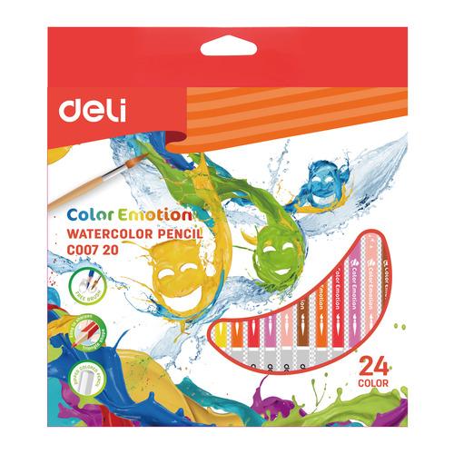 Фото - Упаковка карандашей цветных акварельных DELI EC00720 EC00720, липа, 24 цв., коробка европодвес, 24шт упаковка карандашей цветных акварельных deli 6522 6522 липа 36 цв коробка металлическая