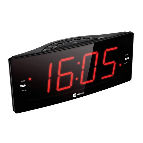 Радиобудильник HARPER HCLK-2042, красная подсветка, черный  - купить со скидкой