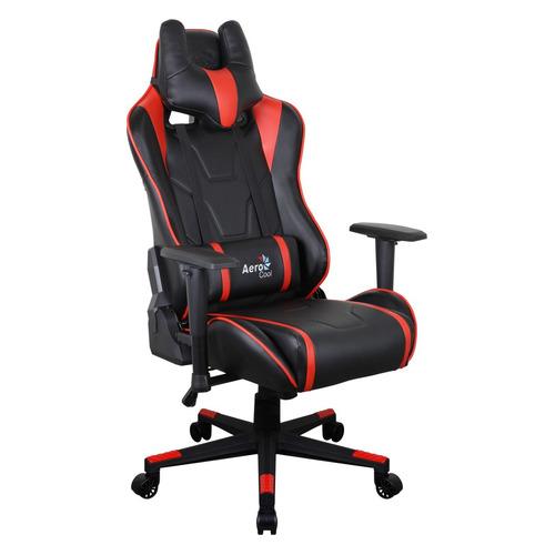 Кресло игровое AEROCOOL AC220 AIR-BR, на колесиках, ПВХ/полиуретан, черный/красный [516386]