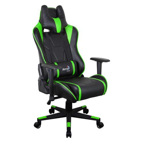 Кресло игровое AEROCOOL AC220 AIR-BG, на колесиках, ПВХ/полиуретан, черный/салатовый [516394]