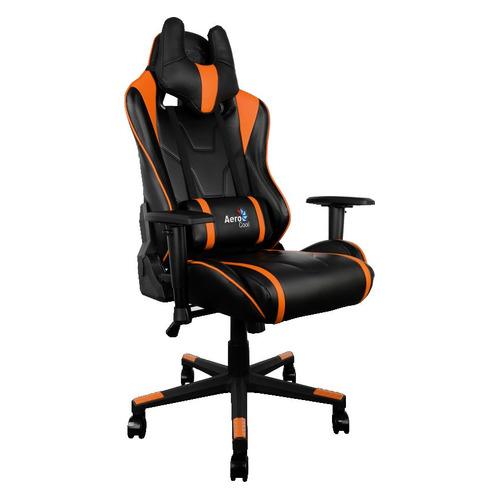 Кресло игровое AEROCOOL AC220 AIR-BO, на колесиках, ПВХ/полиуретан, черный/оранжевый [516390]