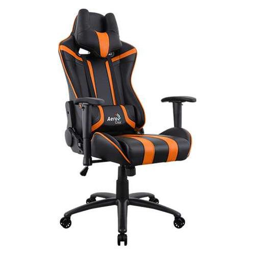 Кресло игровое AEROCOOL AC120 AIR-BO, на колесиках, ПВХ/полиуретан, черный/оранжевый [516672]
