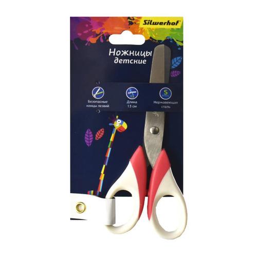 Ножницы Silwerhof 453087 Цветландия детские 130мм ручки с резиновой вставкой ассорти 12 шт./кор.
