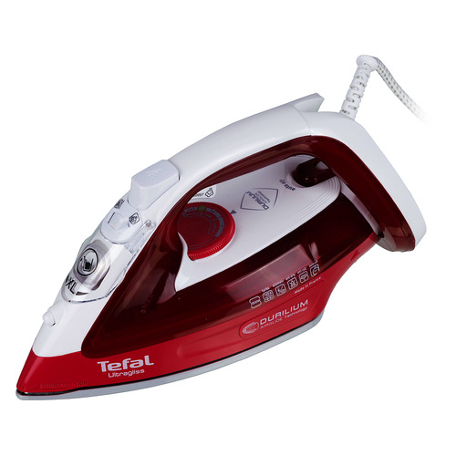 цена на Утюг TEFAL FV4950E0, 2500Вт, белый/ красный [1830006857]
