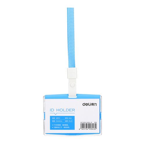 Упаковка бейджей для пропуска DELI 8304BLUE, 91х67мм, горизонтальный, полипропилен, голубой 40 шт./кор. упаковка бейджей для пропуска deli 8306white 60х98мм вертикальный полипропилен белый 40 шт кор