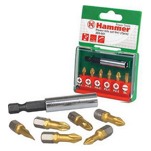 Набор бит HAMMER Flex 203-901 PB, 7шт [30735] бита hammer flex 203 170 pz1 25 мм 2 шт