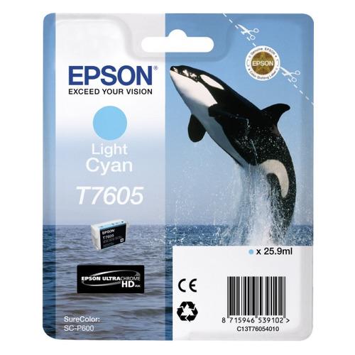 Картридж EPSON T7605, светло-голубой [c13t76054010] светло голубой цв 747