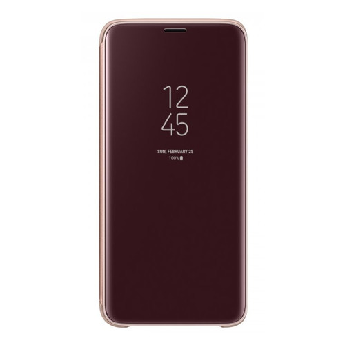 Чехол (флип-кейс) SAMSUNG Clear View Standing Cover, для Samsung Galaxy S9, золотистый [ef-zg960cfegru] чехол флип кейс samsung для samsung galaxy a6 2018 wallet cover золотистый ef wa605cfegru