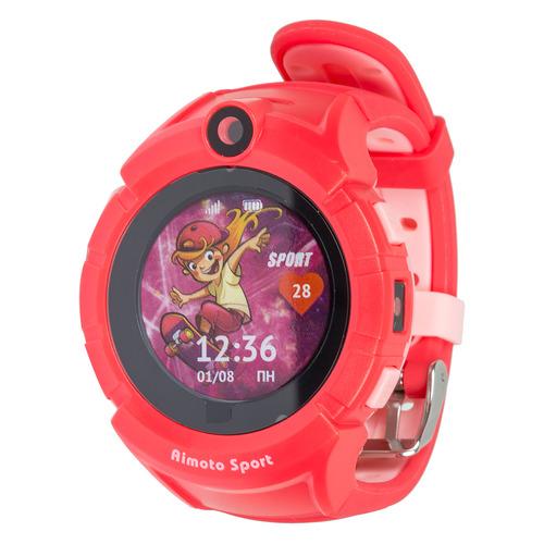 """Смарт-часы КНОПКА ЖИЗНИ Aimoto Sport, 1.44"""", красный / красный [9900105] смарт часы кнопка жизни k911 0 64"""