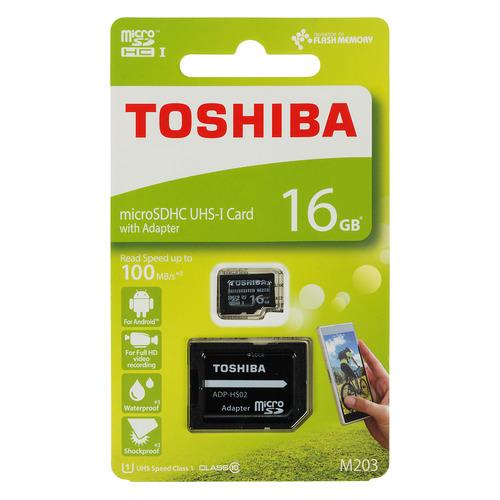 Карта памяти microSDHC UHS-I TOSHIBA M203 16 ГБ, 100 МБ/с, Class 10, THN-M203K0160EA, 1 шт., переходник SD THN-M203K0160EA по цене 390