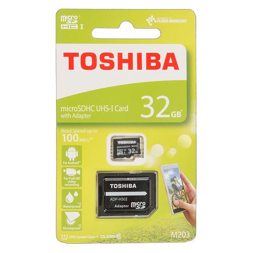 купить Карта памяти microSDHC UHS-I U1 TOSHIBA M203 32 ГБ, 100 МБ/с, Class 10, THN-M203K0320EA, 1 шт., переходник SD по цене 350 рублей