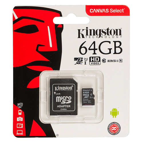 Карта памяти microSDXC UHS-I U1 KINGSTON Canvas Select 64 ГБ, 80 МБ/с, Class 10, SDCS/64GB, 1 шт., переходник SD цена и фото