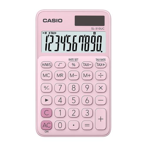 Калькулятор CASIO SL-310UC-PK-S-UC, 10-разрядный, розовый