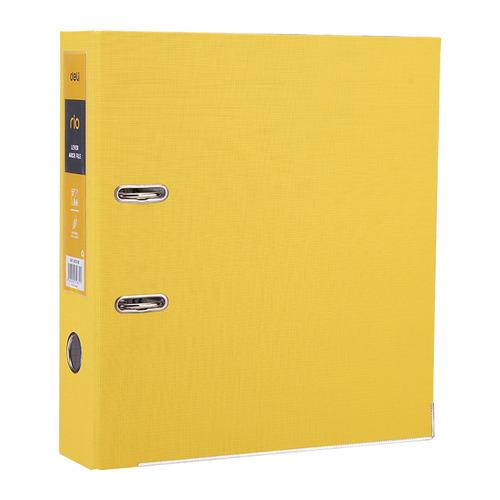 купить Папка-регистратор Deli EB20150 A4 75мм полипропилен/бумага желтый разборная смен.карм. на кор. 50 шт./кор. дешево