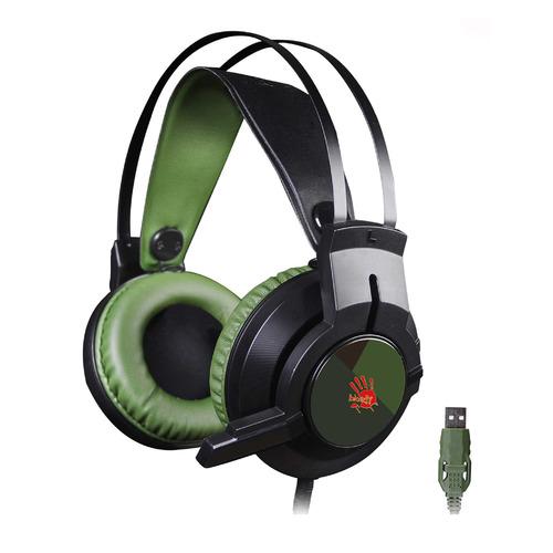 Гарнитура игровая A4 Bloody J450, для компьютера, мониторные, черный / зеленый гарнитура игровая a4 bloody g430 для компьютера мониторные черный коричневый [g430 brown]