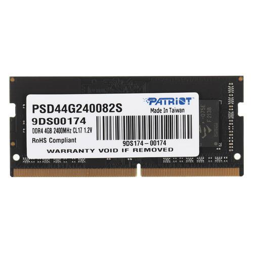 Модуль памяти PATRIOT PSD44G240082S DDR4 - 4Гб 2400, SO-DIMM, Ret модуль памяти patriot psd44g213381s ddr4 4гб 2133 so dimm ret